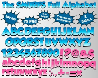 The Smurfs Full Alphabet, Numbers and Symbols | 150 PNG | 300 dpi | Transparent Background | Blue/Pink Colors | The Smurds Birthday Party