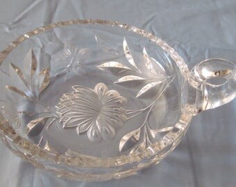 Heavy Cut Crystal Nappy w. Flowers, Bird, Butterfly and Leaves