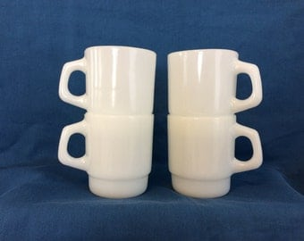 VINTAGE FIRE KING -Set of 4 Stacking Stackable Mugs with 'D' Handle- Anchorwhite Color - by Anchor Hocking - Retro Kitchen Item