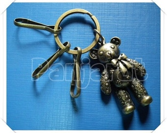 Teddy Bear Charm Key Chain Antique Brass Color