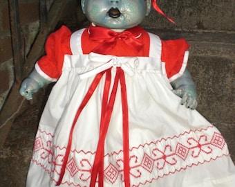 OOAK Horror  Zombie, Living / walking dead baby doll.