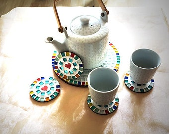 """Mosaic coasters set """"from heart to heart"""""""