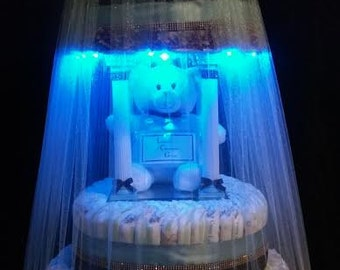 III-Tier Chocolate Brown & Blue Boy's Teddy Bear Light-Up Cake that Spins