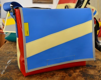Recycled truck tarpaulin Shoulder bag Messenger Bag in Red/White/Blue Water Resistant Laptop messenger bag