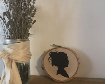 silhouette handpainted on raw birchwood round // wall hanging // wal decor
