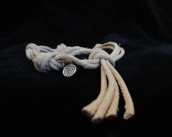 2mm Natural Leather Knotted Bracelet with Sterling Silver Hill Tribe Heart Charm