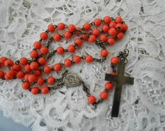 French Rosary with glass orange balls