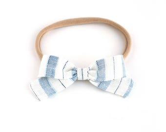 Little Lou | Vintage Blue Stripe | Linen Baby Headbands & Bows