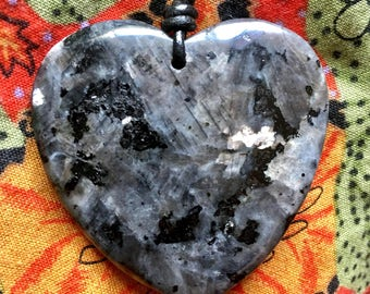 Larvikite Heart Mental Protection Amulet Necklace