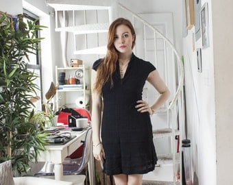 Black Fitted Cap Sleeve Dress