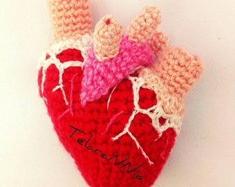 Hand-woven, visceral heart stuffed with wadding.