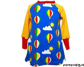 Girl retro Raglan dress AIRBALOON from sweat & Terry Gr. 86-98 (1-3 years)