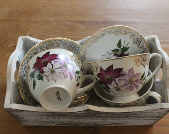 Set of 3 floral Tea Cups and Saucers