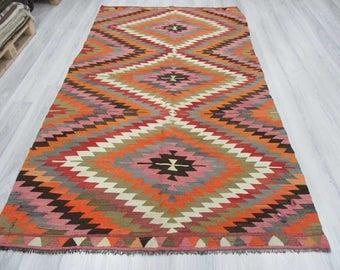 5' 7''x9' 7'' Handwoven vintage colourful Turkish kilim rug