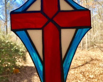 Hand made red/white/blue stained glass cross