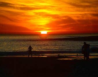 Natural Bridge State Beach-2 Sunset, Santa Cruz, California USA, Pacific Ocean, Monterey Bay,  - Canvas Gallery Wrap