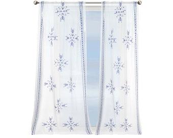 Mediterranean Breeze curtain, blue, white, ikat, Mediterranean style