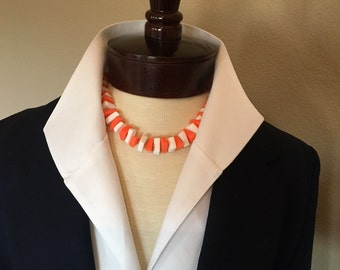 Crown Trifari Orange and White Lucite Necklace Vintage