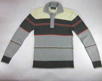 Lightweight Fitted Late 70s Early 80s Striped Sweater Shirt
