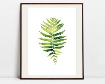 Fern Art Botanical Print , Leaf Watercolor Painting, Fern Green Illustration, Digital Download Art Print
