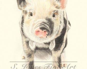 "Piglet 10"" x 8"" Fine Art Giclee Print"