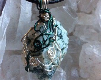Tree Agate Wire Wrapped Stone Pendant