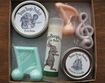 Mini gift box, set of all natural skin care: coconut lemongrass lip balm, foot balm, cuticle cream, g-cleff & two music note soaps. skincare