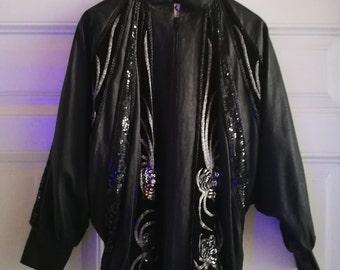 Vintage leather bat sleeve Jacket