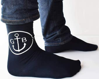 Personalised Mens Monogram Anchor Socks