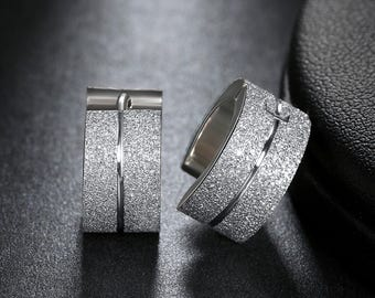 Frosted Stainless Steel Hoop Earrings - Silver