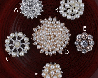 Bling Hot Fix Metal Pearl Buttons for Hair Accessories Alloy Crystal Flatback Rhinestone Buttons for Wedding Ornaments