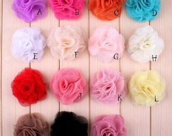 "2.4"" 15 Colors Newborn Mini Crochet Shabby Chiffon Flower Accessoreis Fashion Tulle Mesh Flowers For Baby Headband For Girls Hair Clips"