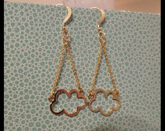 Original glossy gold plated cloud dangle 14Kt gold filled hook earrings