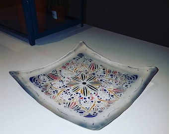 Painted Fused Glass Bowl - Handmade - Handcrafted - Stencil Art