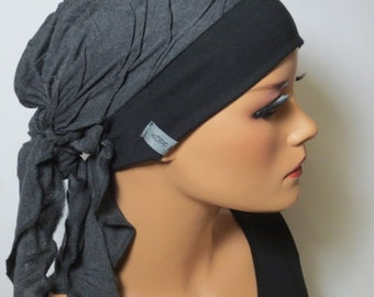 Head scarf Hat/CHEMO Hat dark grey m. structure practically fashionably comfortable