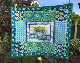 Shades of Blue Tea Time Patchwork Quilted Wall Hanging Table Topper