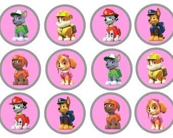 Pink Paw Patrol Cupcake toppers