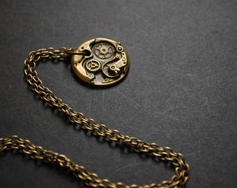 Bronze tone steampunk watch movement necklace