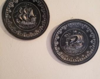 Set of vintage tin plates of ships