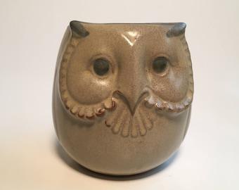 Owl Coffee Mug-Cup Dimensional-Stoneware-Vintage-Japan