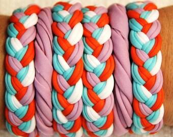 Bracelets Purple Ligth Blue White and Orange , lycra, 100% Handmade