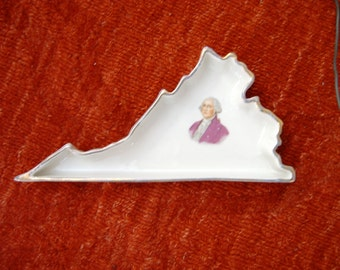 vintage state of virginia with george washington picture dish