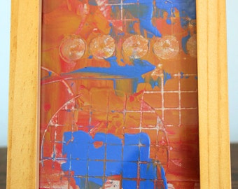 Blue Squares Framed Abstract Painting