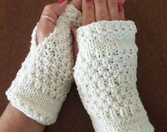 Moss Handmade Fingerless Knit Mitts