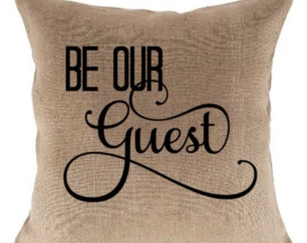 18 inch Be Our Guest Natural Jute Pillow Cover