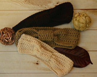 Regina Knotted and Ruched Crochet Headband Ear Warmer