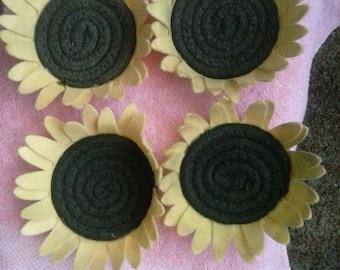 Sunflower coasters, set of 4