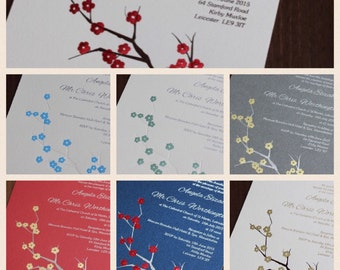Wedding Invitation foiled - cherry blossom design - Flat A5 size - pink - red - blue - silver - white - ivory - cream many more available