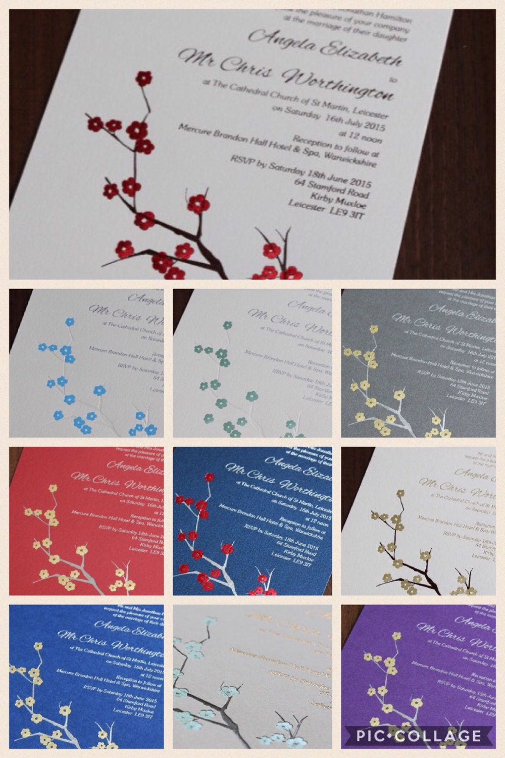 Wedding Invitation foiled - cherry blossom design - Flat A5 size ...