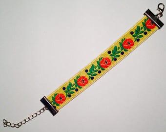 Yellow handmade embroidered floral folk bracelet
